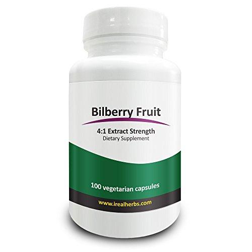 Estratto di Mirtillo Bilberry Real Herbs 4:1 375mg - Ricco di Antiossidanti, Promuove la Circolazione Sanguigna & la Vista, Aumenta la Salute Cardiovascolare - 100 Capsule Vegetariane