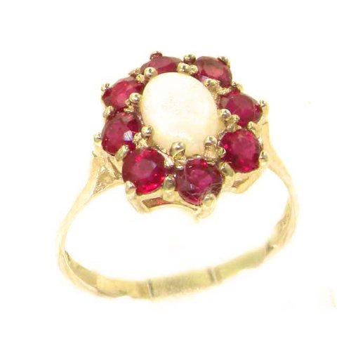 Luxury Ladies Solid 14K Yellow Gold Natural Opal & Ruby Cluster Ring - Size 9.25 - Finger Sizes 5 to 12 Available - Perfect Gift for Birthday, Christmas, Valentines Day, Mothers Day, Mom, Mother, Grandmother, Daughter, Graduation, Bridesmaid.