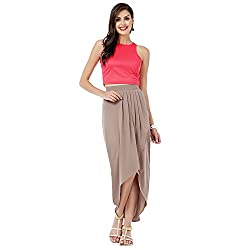 Eavan Women's Casual Wear Pink Solid Crop Top Blended Top