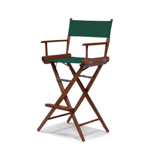 Telescope Casual World Famous Bar Height Director Chair, Green with Walnut Frame