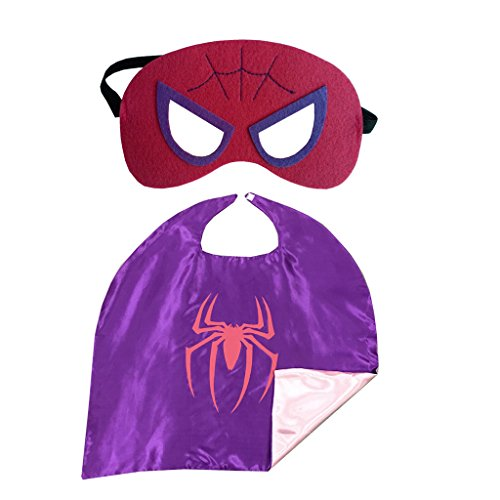 Maxagathe Superhero Cape and Mask Costumes Set For Kids - (Spidergirl-Purple) (Spider Girl Costume For Kids)