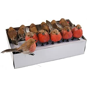 FloristryWarehouse artificial Christmas Robins feather birds. Box of 12 wired feet 10cm craft