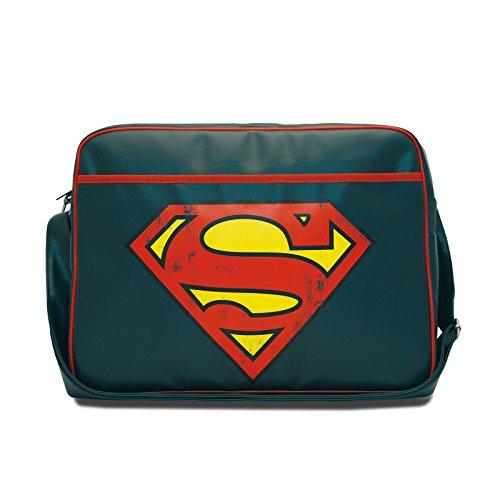 Superman - Borsa tracolla della DC Comics con licenza ufficiale - Messenger Bag in retro look - Blu