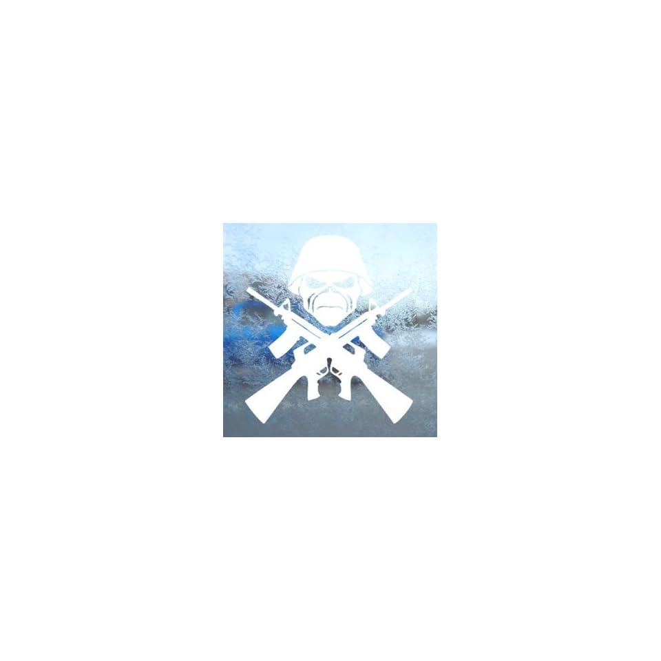 Eddie Machine Guns Iron Maiden White Decal Band Car White Sticker