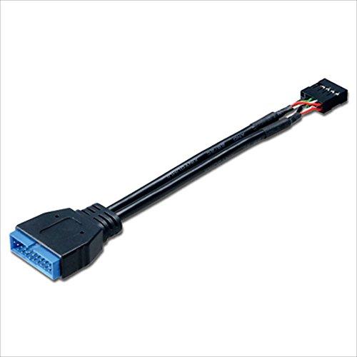 Akasa AK-CBUB19-10BK Adattatore Interno da USB 3.0 Maschio a USB2.0 Femmina, Nero