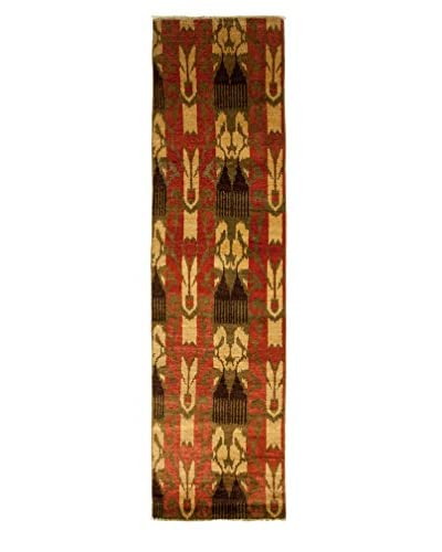 """Darya Rugs Ikat Oriental Rug, Olive, 2' 7"""" x 10' 2"""" Runner"""