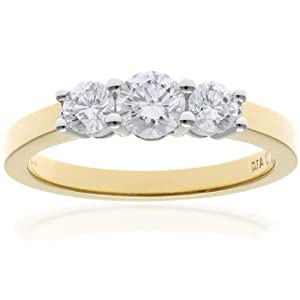 Ariel 18ct Yellow Gold Trilogy Ring, IJ/I Certified Diamonds, Round Brilliant, 0.75ct