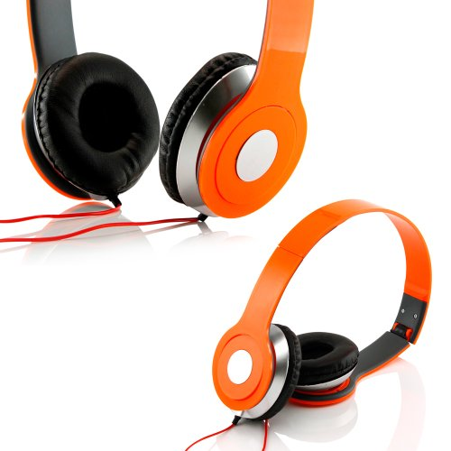 Gearonic Tm Adjustable Circumaural Over Ear Stereo Stero Earphone Headphone For Pc Mp3 Mp4 Ipod Iphone Ipad Tablet - Orange