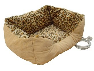 Extra large sized heated pet bed with leopard print design