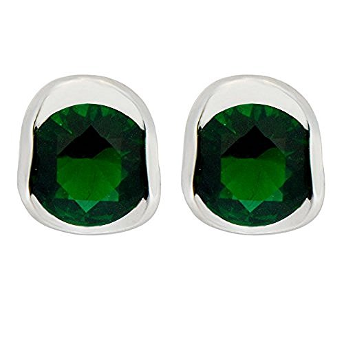 Jewelry brincos Emerald Sapphire Green Zircon New Lady Gift 14KT White Gold Filled Studs Earrings for (Guys Dance Costumes)