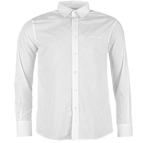 Pierre Cardin-Maglia a manica lunga da uomo chiusura a bottone Top Smart camicia per il tempo libero bianco L
