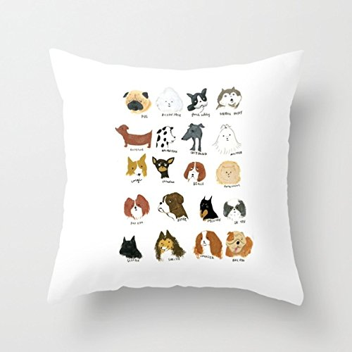 Artistdecor Dogs Cushion Covers 18 X 18 Inches / 45 By 45 Cm Best Choice For Bar,kids Girls,sofa,kids Girls,divan,car Seat