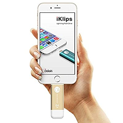 Adam Elements 64GB iKlips Apple Lightning OTG Flash Drive USB 3.0 (Gold)