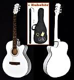 """Design Akustik Gitarre """"Western Style"""" in Weiß mit Rosenholz – mit Zubehörset: gepolsterte Tasche, Gurt, Ersatzsaiten und Stimmpfeife"""