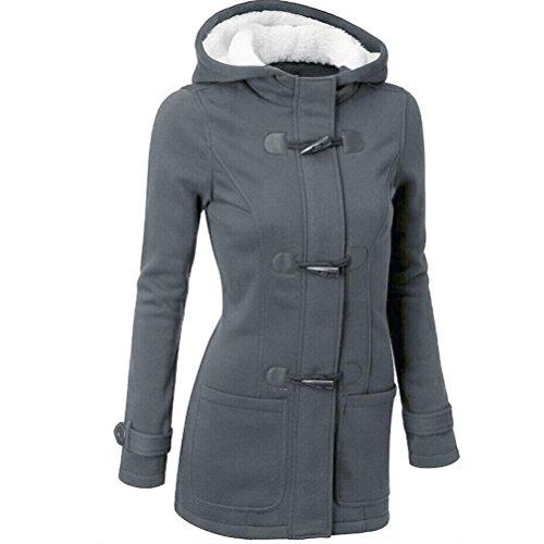 "Cappotto Donna, Reasoncool Fashion Women Windbreaker Outwear Warm Wool Slim Long Coat Jacket Trench (XL-Busto:40.9"", Grigio scuro)"
