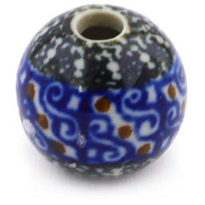 Polmedia Polish Pottery 1-Inch Stoneware Bead H4575F Hand Painted From Ceramika Artystyczna In Boleslawiec Poland. Shape S601C(A03) Pattern P0180A(729)
