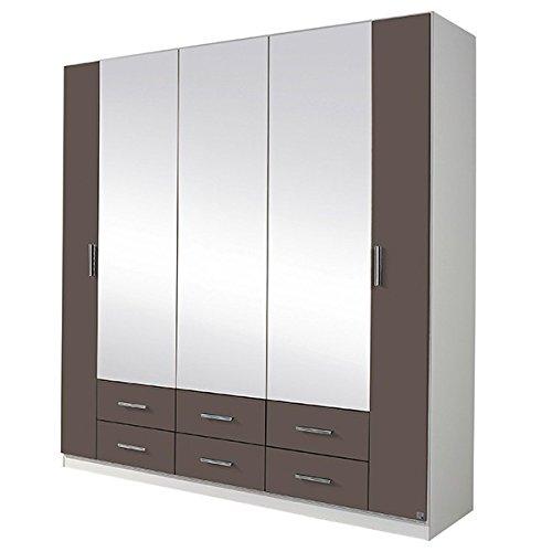 Kleiderschrank grau / weiß 5 Türen B 181 cm lavagrau Schrank Drehtürenschrank Wäscheschrank Spiegelschrank Kinderzimmer Jugendzimmer jetzt bestellen