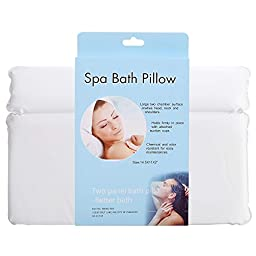 ACEVIVI Non-Slip Spa Bath Pillow With Suction Cups -Extra Soft & Large 2-Panel Design for Shoulder & Neck Support