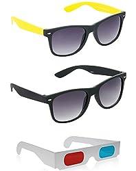 Hrinkar Combo Of Foldable Brown Wayfarer Sunglasses + Black Wayfarer Sunglasses + Free 3D Glasses ( Foldable Brown Sunglasses ) ( Sun6112 )