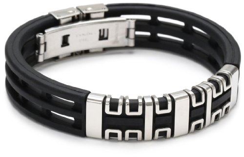 Men's Stainless Steel Rubber Bracelet, 8.5