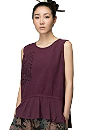 JIQIUGUER Womens Ethnic Print Pleated Hem Sleeveless Tank Top Light Purple X-Large