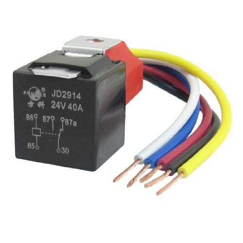 Car Auto Truck Spdt 5 Pin 15Mm Rail Relay Socket Harness Wire Jd2914 40A 24V Dc