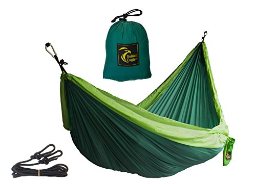 Golden Eagle Portable Camping Parachute Silk Double Hammock. Premium Quality.(dark/light green)