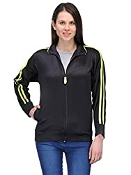 Scott Women Wrinkle free Dryfit Jacket (Black with Green Stripes) - FBALJKT1-L