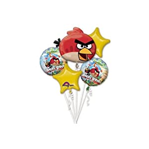 Angry Birds Balloon Bouquet (contains 5 mylar balloons)