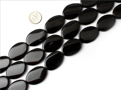 20x30mm twist oval Gemstone black agate strand 15