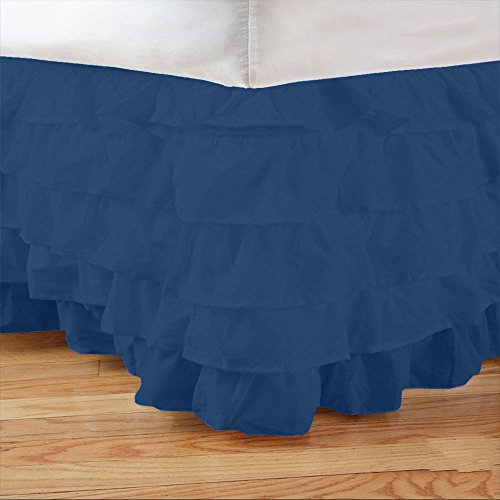Sleek Linens 1Pcs Multi Ruffle Bedskirt Solid (Drop Length: 18 Inches) Cal King 600Tc 100% Egyptian Cotton High-Grade Egyptian Blue Solid front-809091