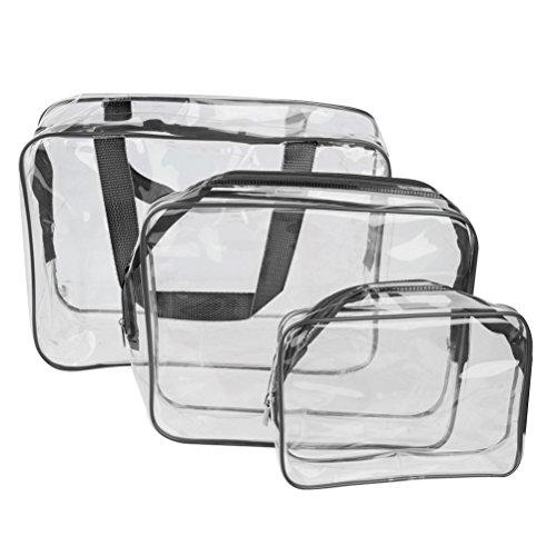 Pixnor 3pcs impermeabile Cosmetic Bag trasparente Toiletry Organizer Borsa