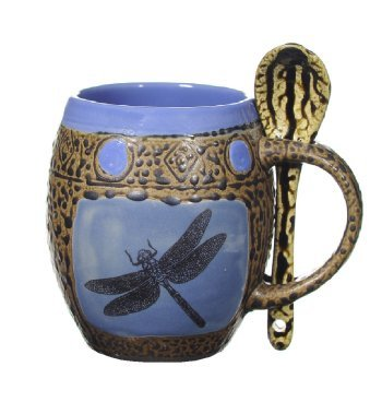 Blue Dragonfly Mug with Spoon