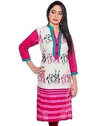 Pranjal's Women Cream & Pink Cotton Kurta