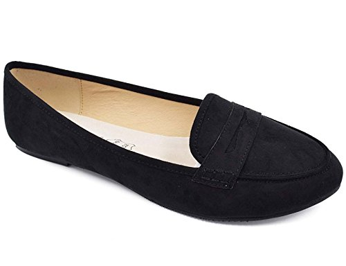 Greatonu Women's Black Faux Suede Slip-on Penny Loafer Flats( 9 Us )