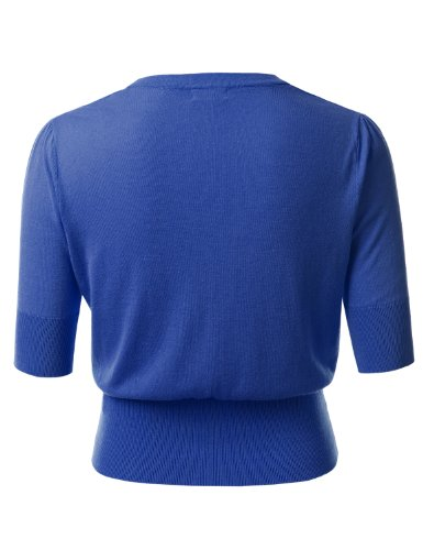 J.TOMSON PLUS Womens Short Sleeve Bolero Shrug Cardigan Plus Size ROYAL BLUE XXX-LARGE