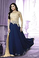 Krishna Blue Color Georgette Semi Stitch Dress Material With Dupatta. Salwar Kameez.