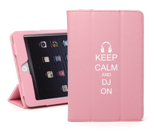 Apple Ipad 2 3 4 Pink Leather Magnetic Smart Case Cover Stand Keep Calm And Dj On Headphones