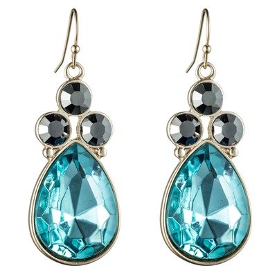 12K Plated Gold Pear Acrylic Earring Stone color: Blue Glass / Pyrite Glass
