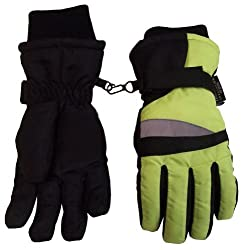 N'Ice Caps Boys Neon Reflector Thinsulate and Waterproof Ski Gloves (8-9 Years, Black/Neon Yellow)