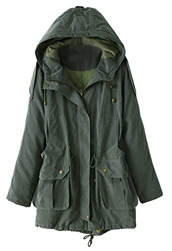 Alralel Women Winter Hooded Cotton Blend Quilted Padded Parka Military Coat