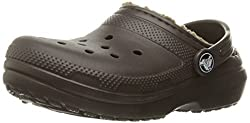 crocs Classic Lined Clog (Toddler/Little Kid), Espresso/Khaki, 3 M US Little Kid