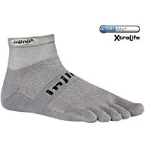 Injinji Unisex Run 2.0 Original Weight Mini-Crew XtraLife Socks Large Grey