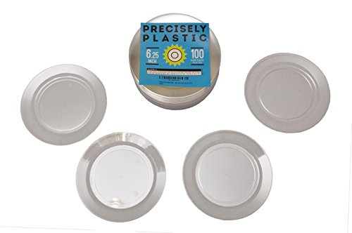 Clear Hard Plastic Plates Premium 6.25-Inch Disposable 100 ct VALUE PACK, Sturdy Bulk Plates Perfect for Appetizers, Salads, Desserts, Party Foods, Small Dishes (See Through Box Packaging compare prices)
