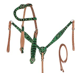 New One Ear Green Zebra Headstall Reins Breast Collar Tack Set Western Tack Horse Tack Show Tack