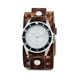 Nemesis Men's BVT037W Signature Stainless Steel Vintage Brown Leather Cuff Watch