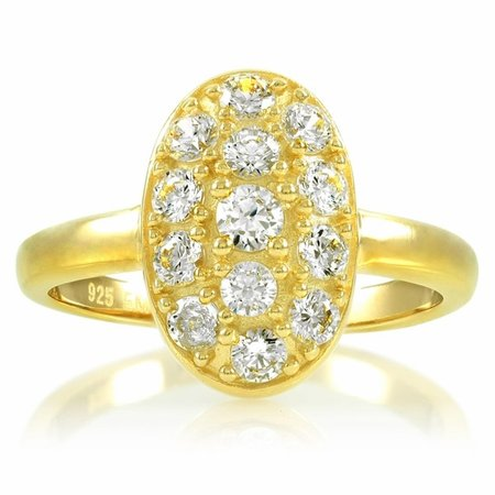 Carleen's CZ Cubic Zirconia Oval Engagement Ring - 1.3 TCW Gold Plated