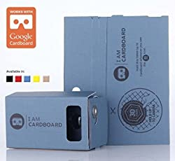 I AM CARDBOARD 45mm Focal Length Virtual Reality Google Cardboard with Printed Instructions and Easy to Follow Numbered Tabs (WITH NFC) (Blue)