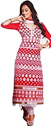 Its All About Me Women's Cotton Unstitched Dress Material (EK02_Red White_Free Size, EK06_Green White_Free Size)