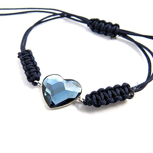 Silber-armband 'Love'dunkelblau